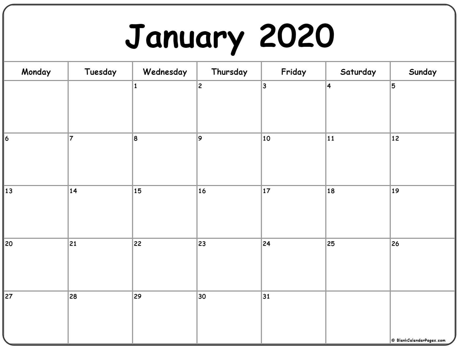 January 2020 Monday Calendar | Monday To Sunday-Calendar