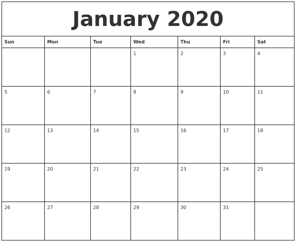 January 2020 Printable Monthly Calendar
