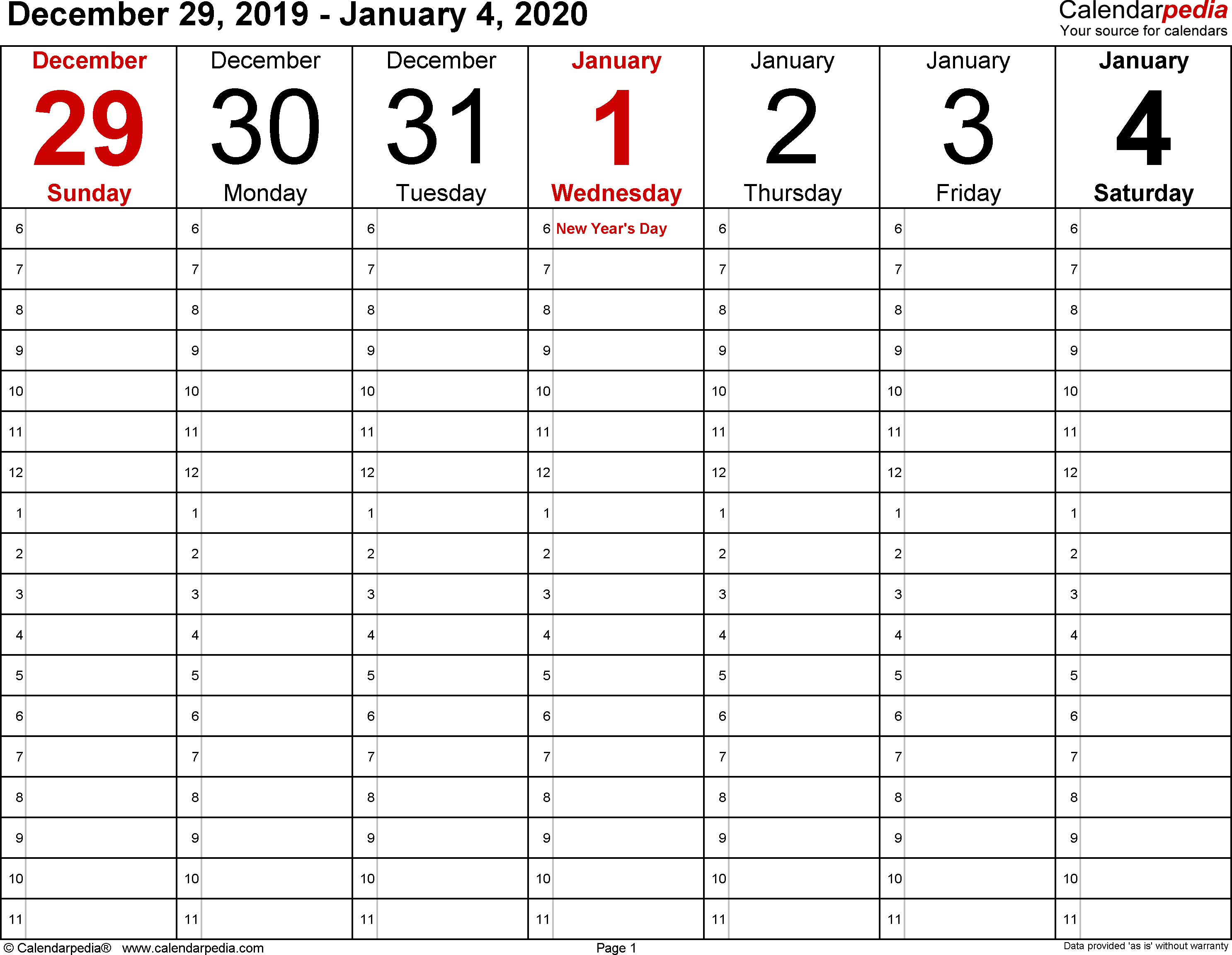 January 2020 Weekly Calendar   Monthly Calendar Template