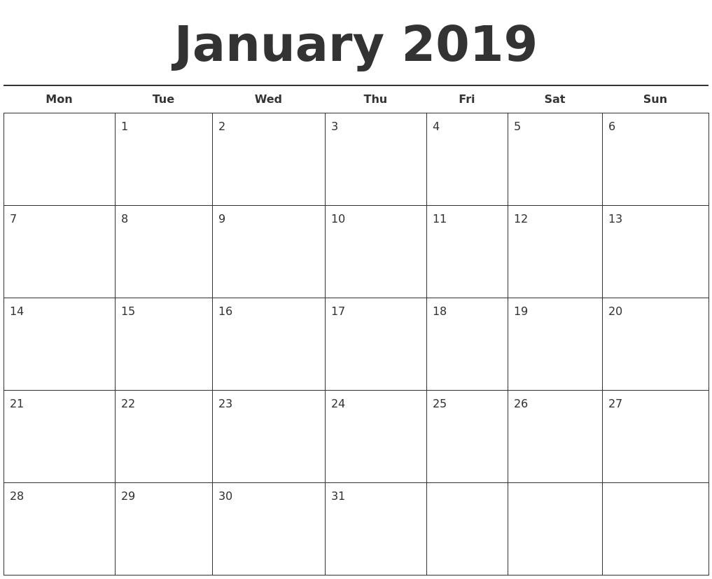 January Month Calendar 2019 Printable Template | Excel