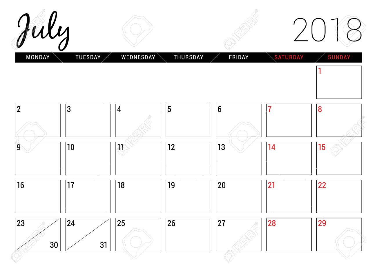 July 2018. Printable Calendar Planner Design Template. Week Starts..