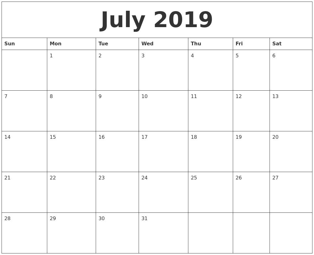 July 2019 Calendar – Download July 2019 Printable Calendar