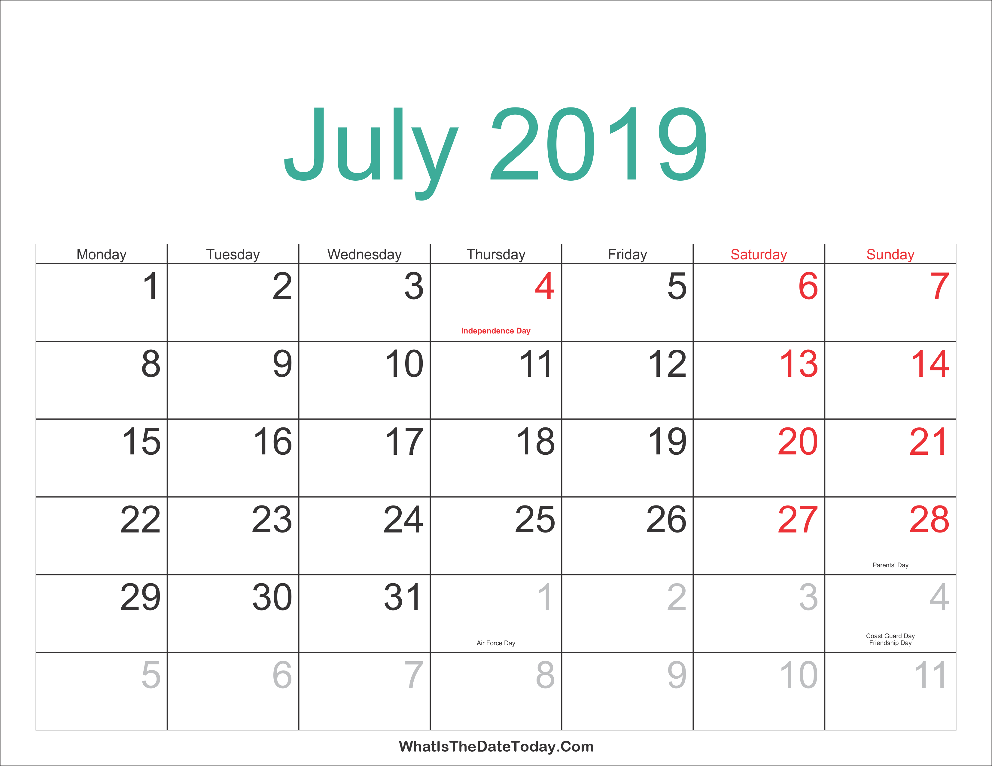 July 2019 Calendar With Holidays Printable, July 2019
