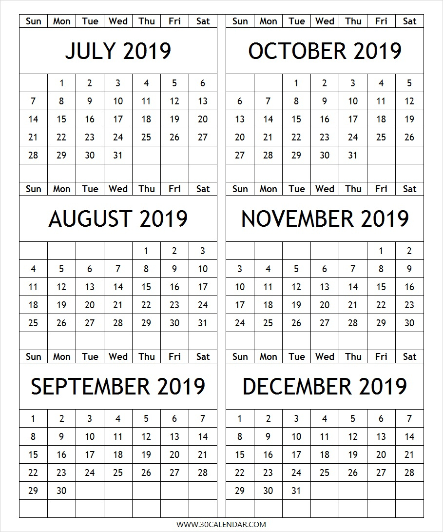 July-2019-To-December-2019-Calendar-Printable - 30 Day Calendar