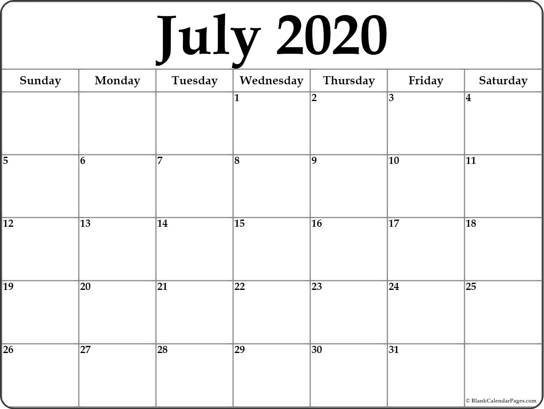July 2020 Calendar   Free Printable Monthly Calendars