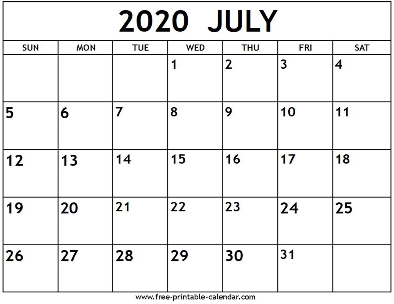 July 2020 Calendar Template - Colona.rsd7