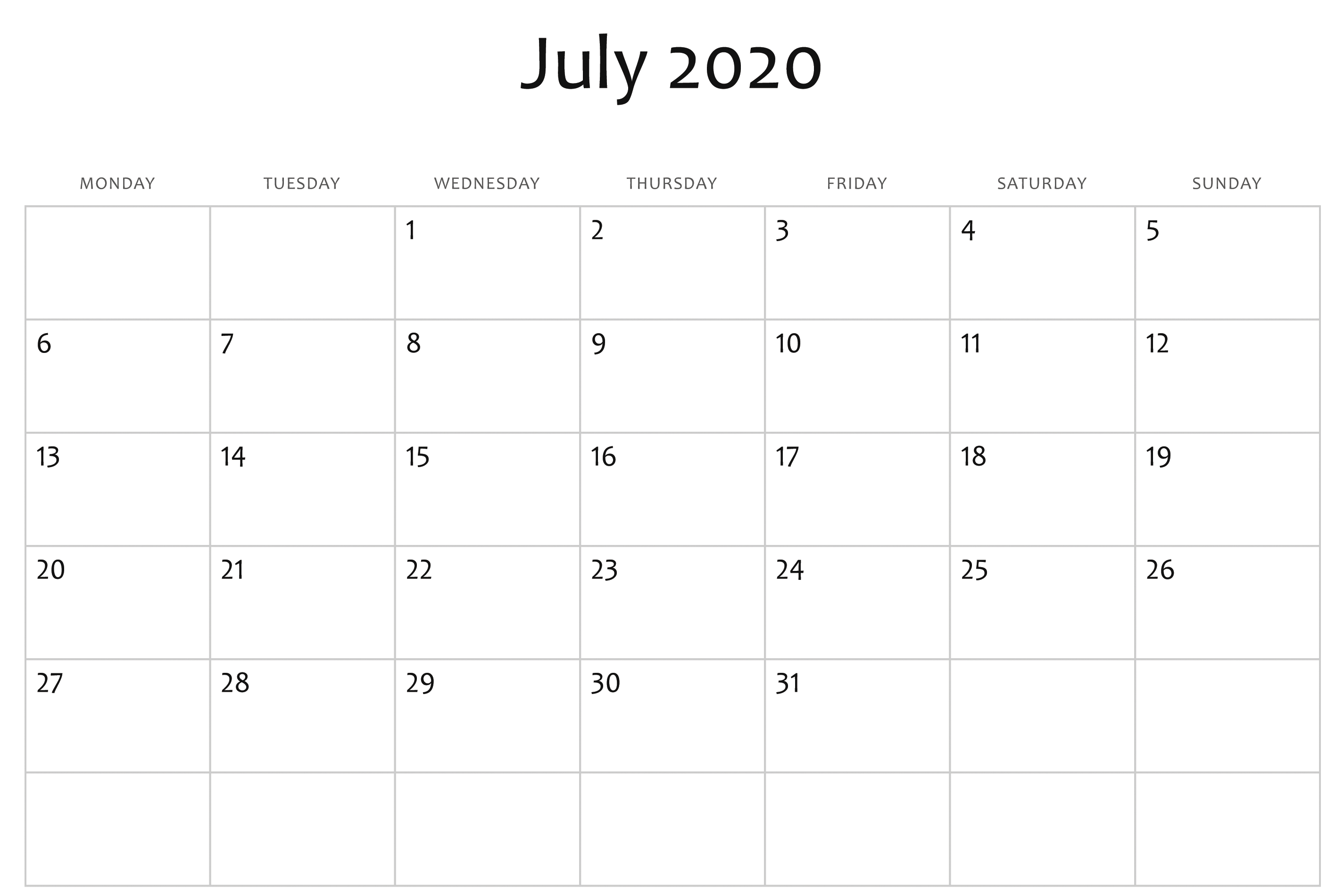 July 2020 Calendar Word | Monthly Calendar Template, Free