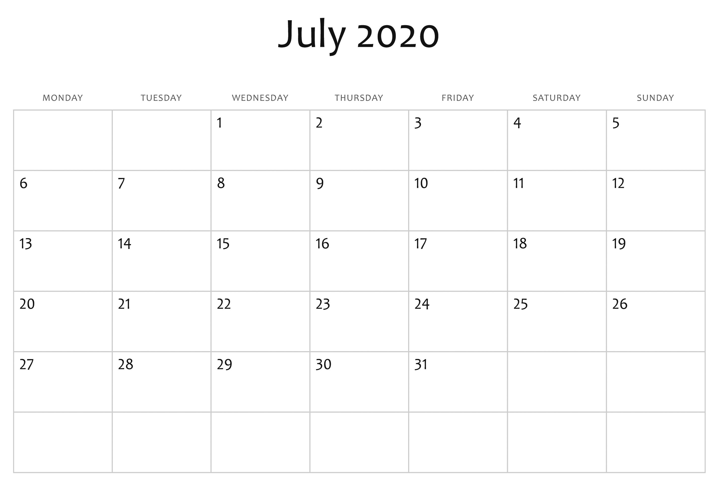 July 2020 Calendar Word | Monthly Calendar Template, Free