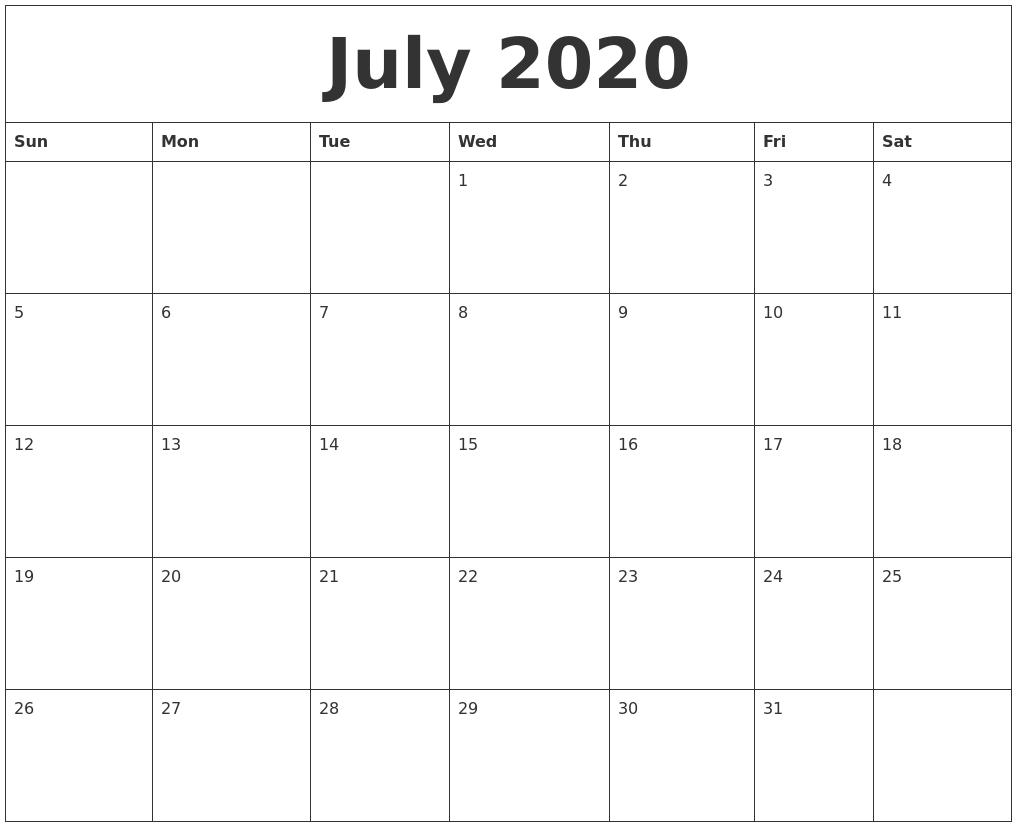July 2020 Monthly Printable Calendar