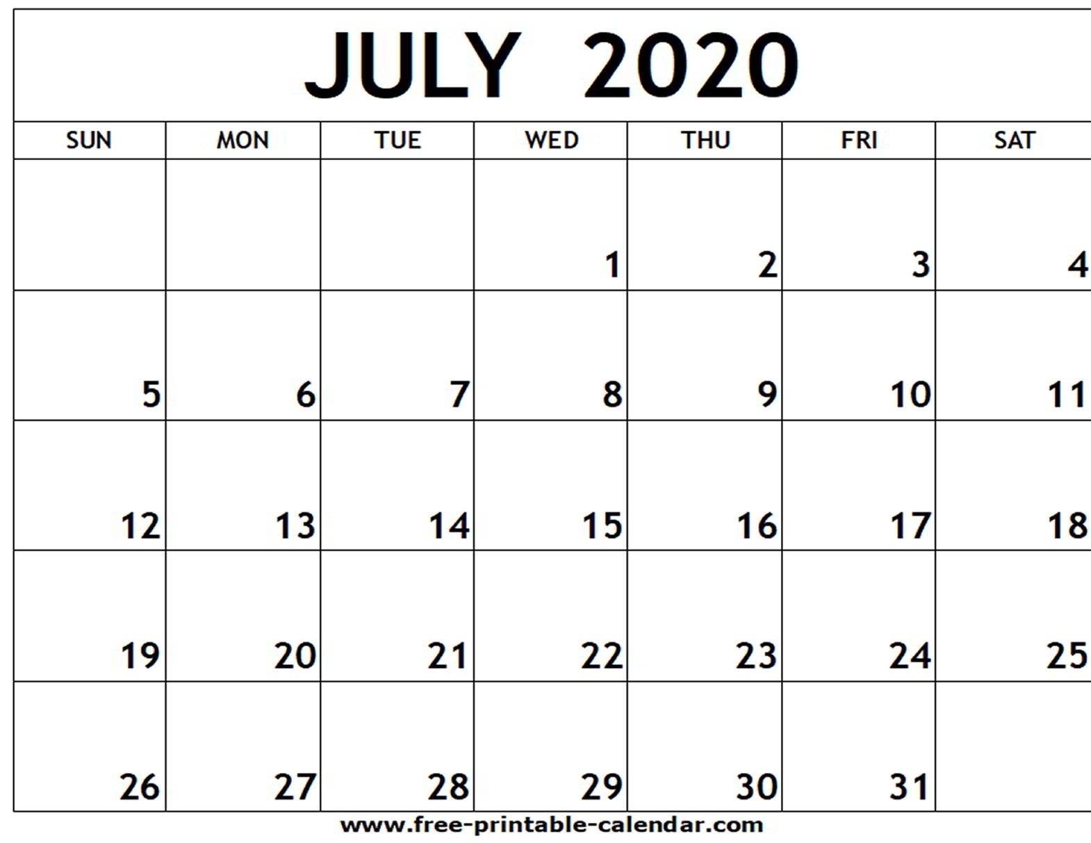 July 2020 Printable Calendar – Free-Printable-Calendar-Blank