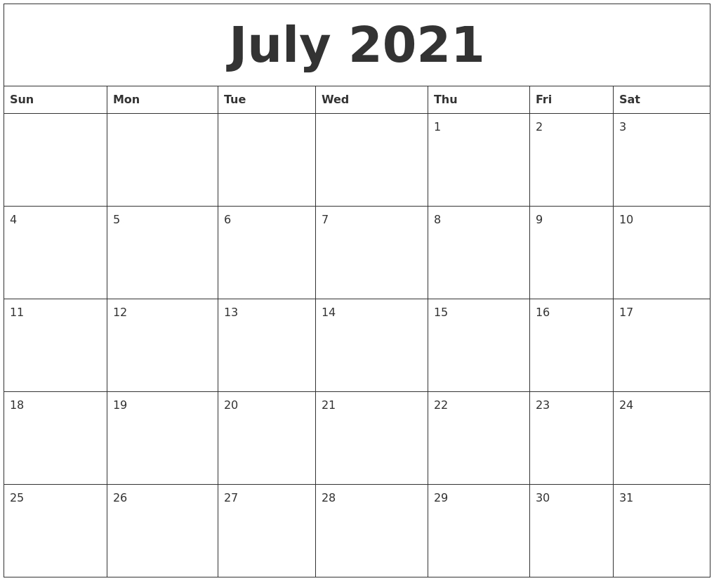 July 2021 Free Printable Monthly Calendar