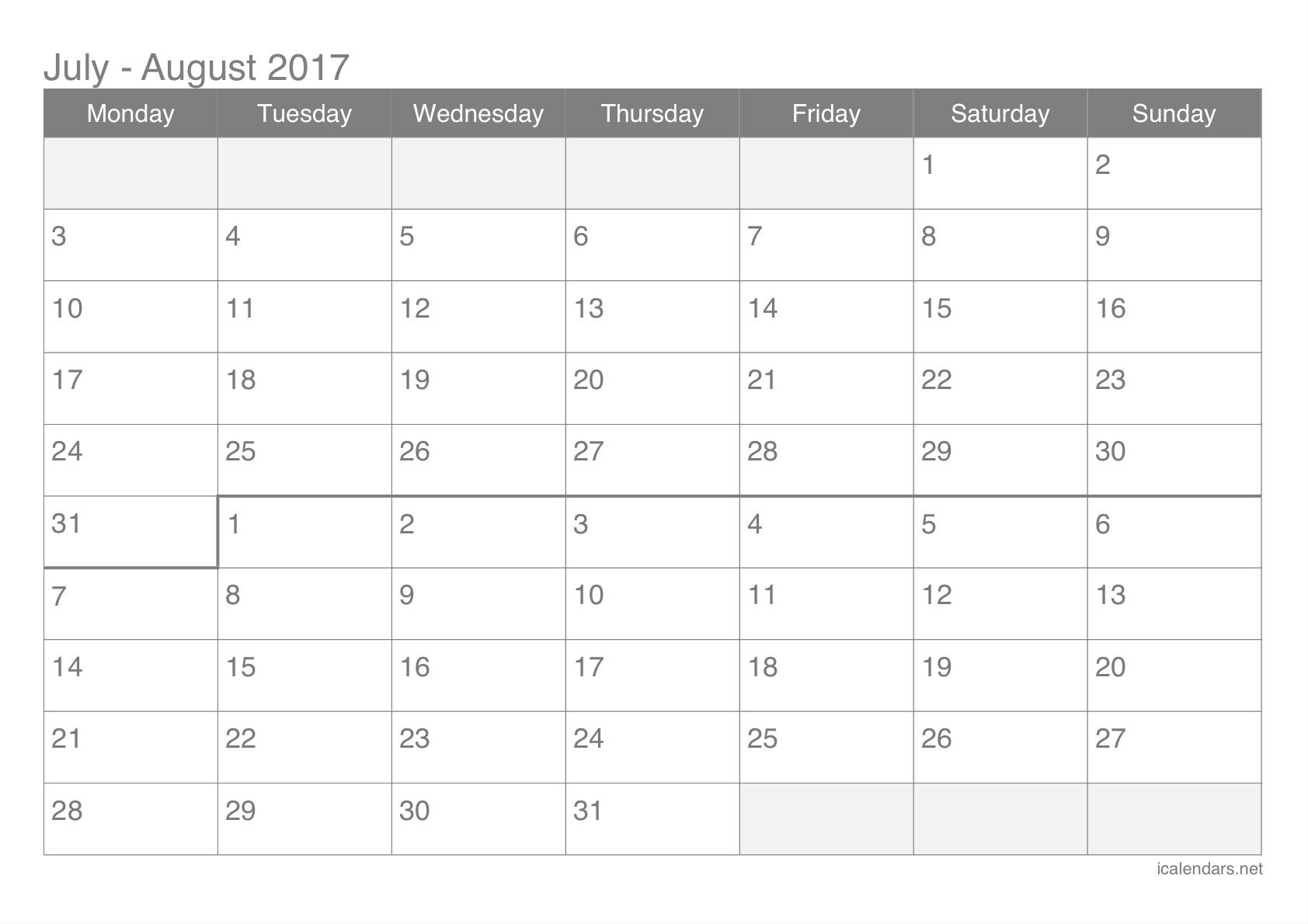July And August 2017 Printable Calendar - Icalendars