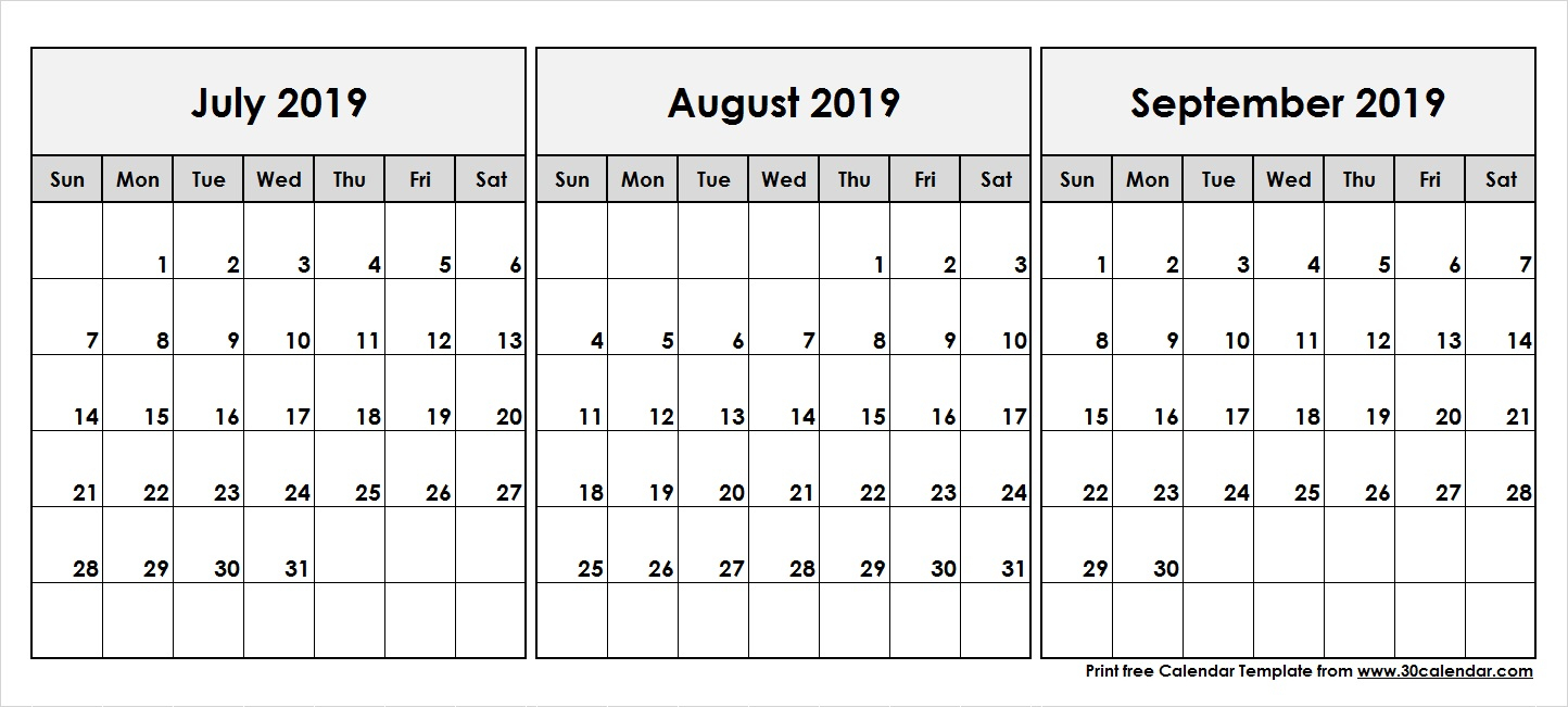 July August September 2019 Calendar | 3 Month Calendar Template