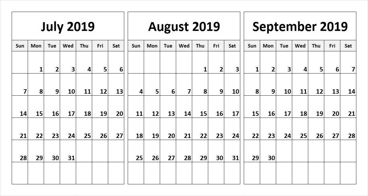July August September 2019 Calendar (3 Months) Printable