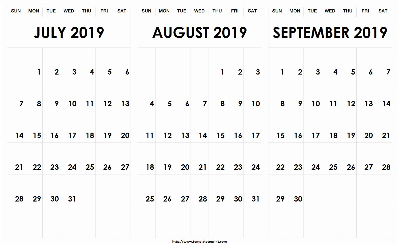 July August September 2019 Printable Calendar | September