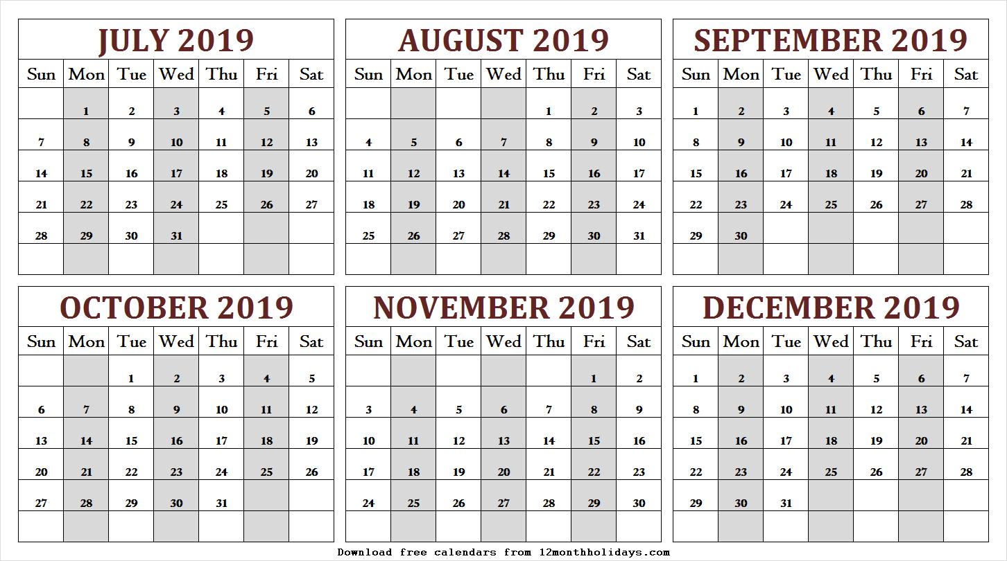 July - December 2019 Printable Calendar | 2019 Calendar