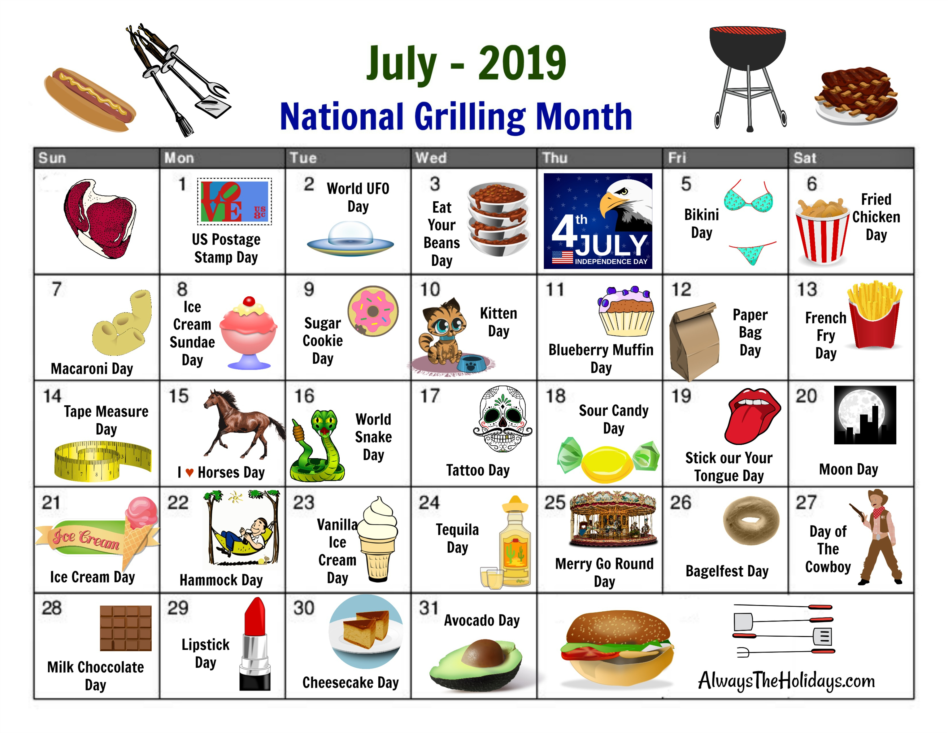 July National Day Calendar - Free Printable