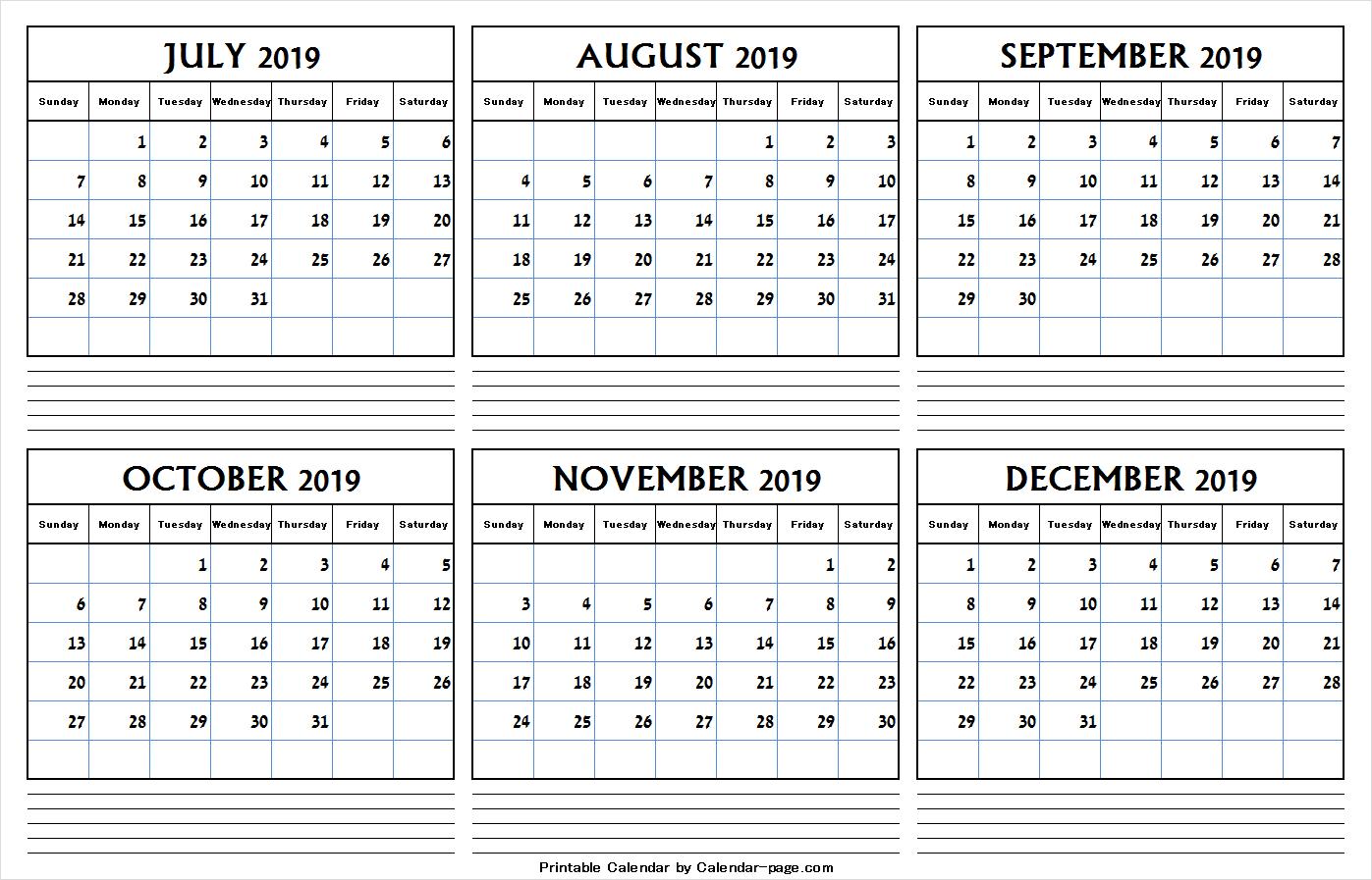 July To December 2019 Calendar Pdf | July 2019 Calendar Clipart