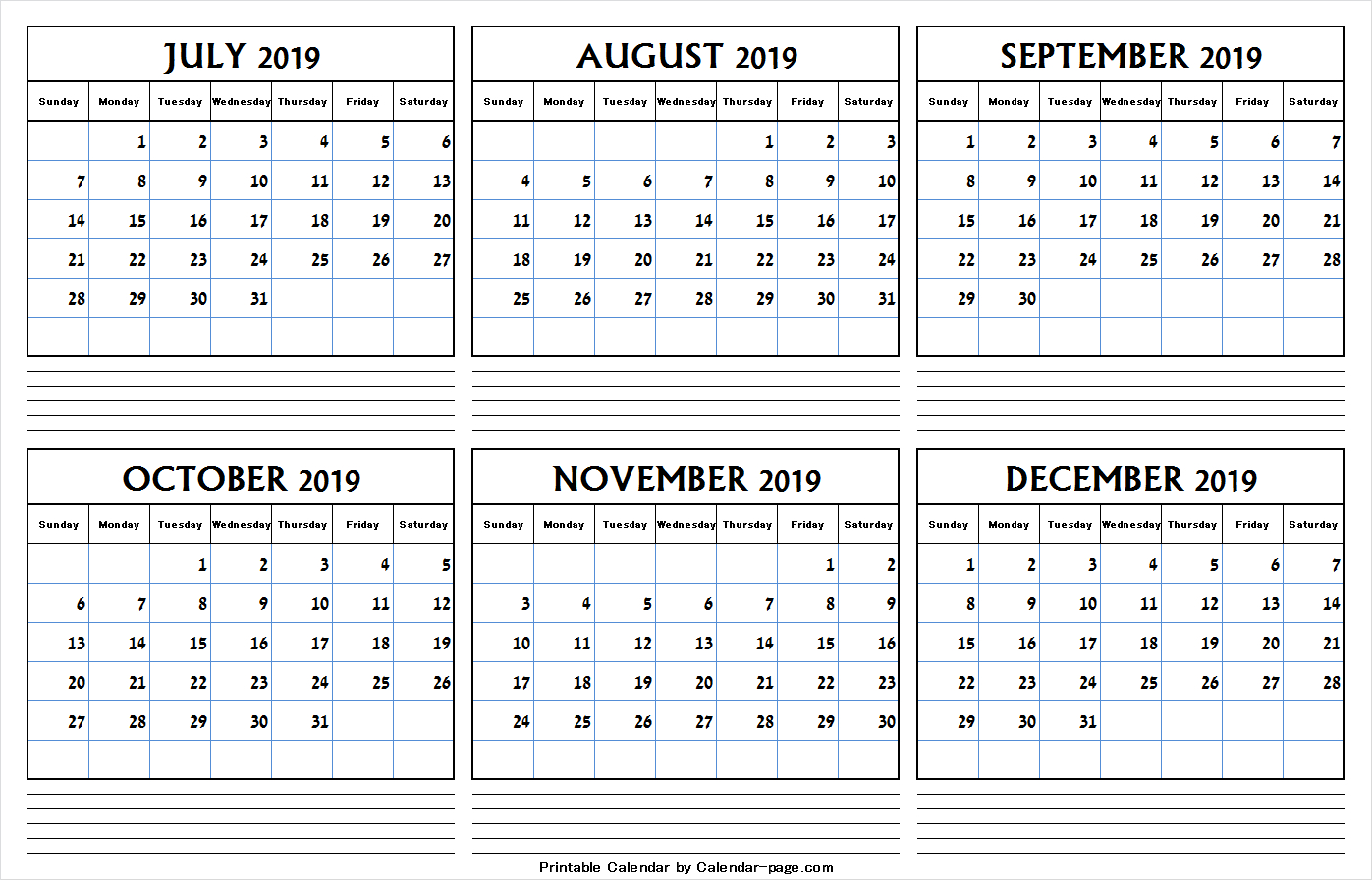 July To December 2019 Calendar Pdf | July 2019 Calendar Clipart
