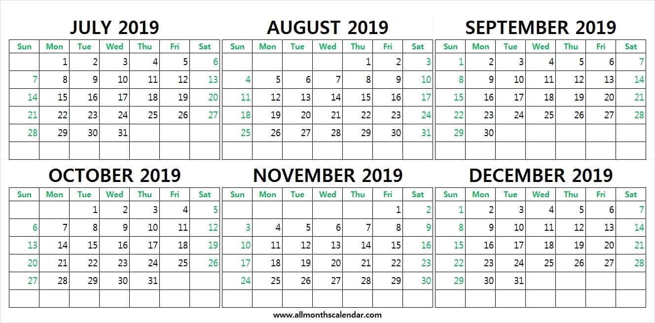 July To December 2019 Calendar Printable | 2019 Weekly