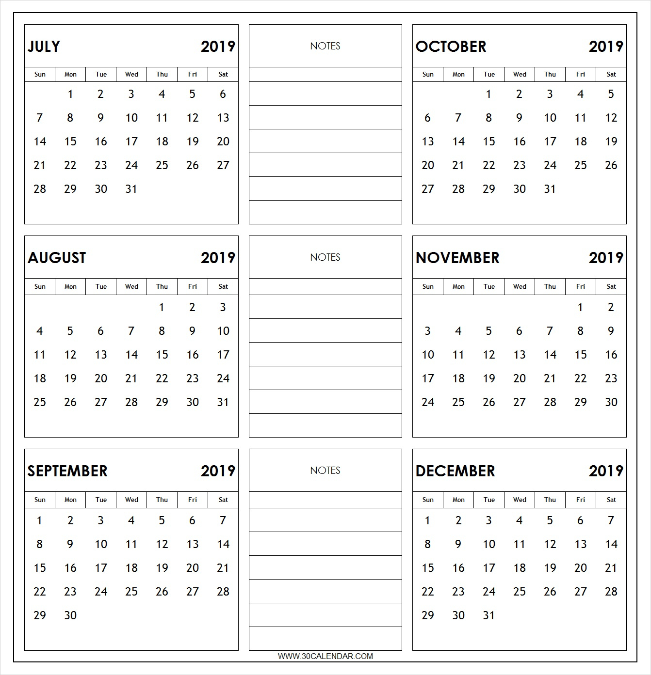 July To December 2019 Calendar Printable | 6 Month 2019 Calendar
