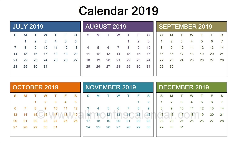 July To December 2019 Calendar Template | Calendar Templates