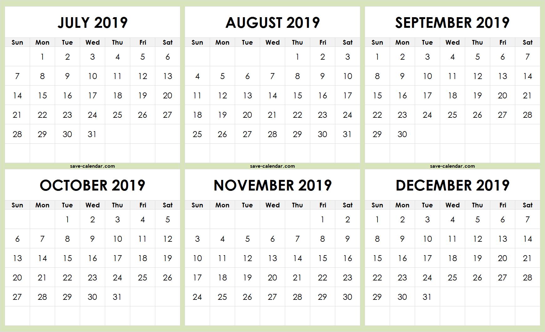 July To December 2019 Calendar Template Printable | Free