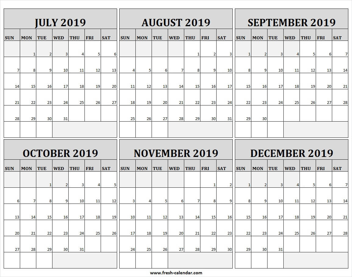 July To December 2019 Calendar With Lines Free | 2019 Lines