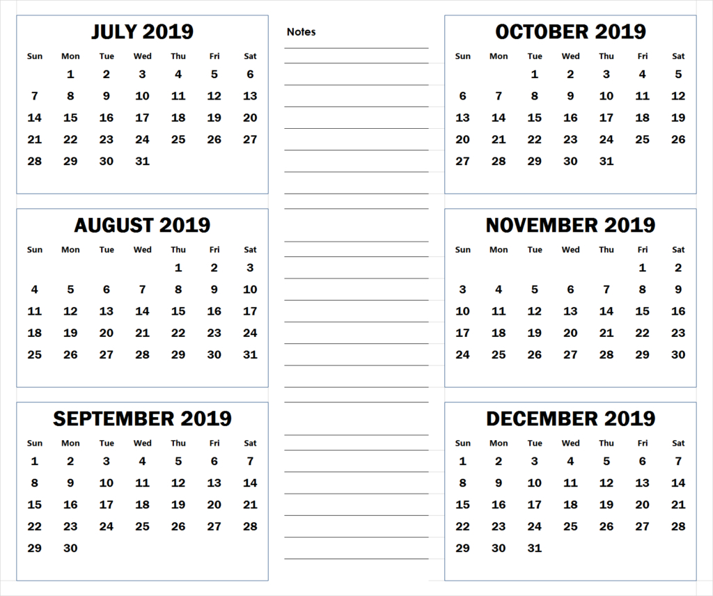 July To December 2019 Printable Calendar | 2019 Calendar