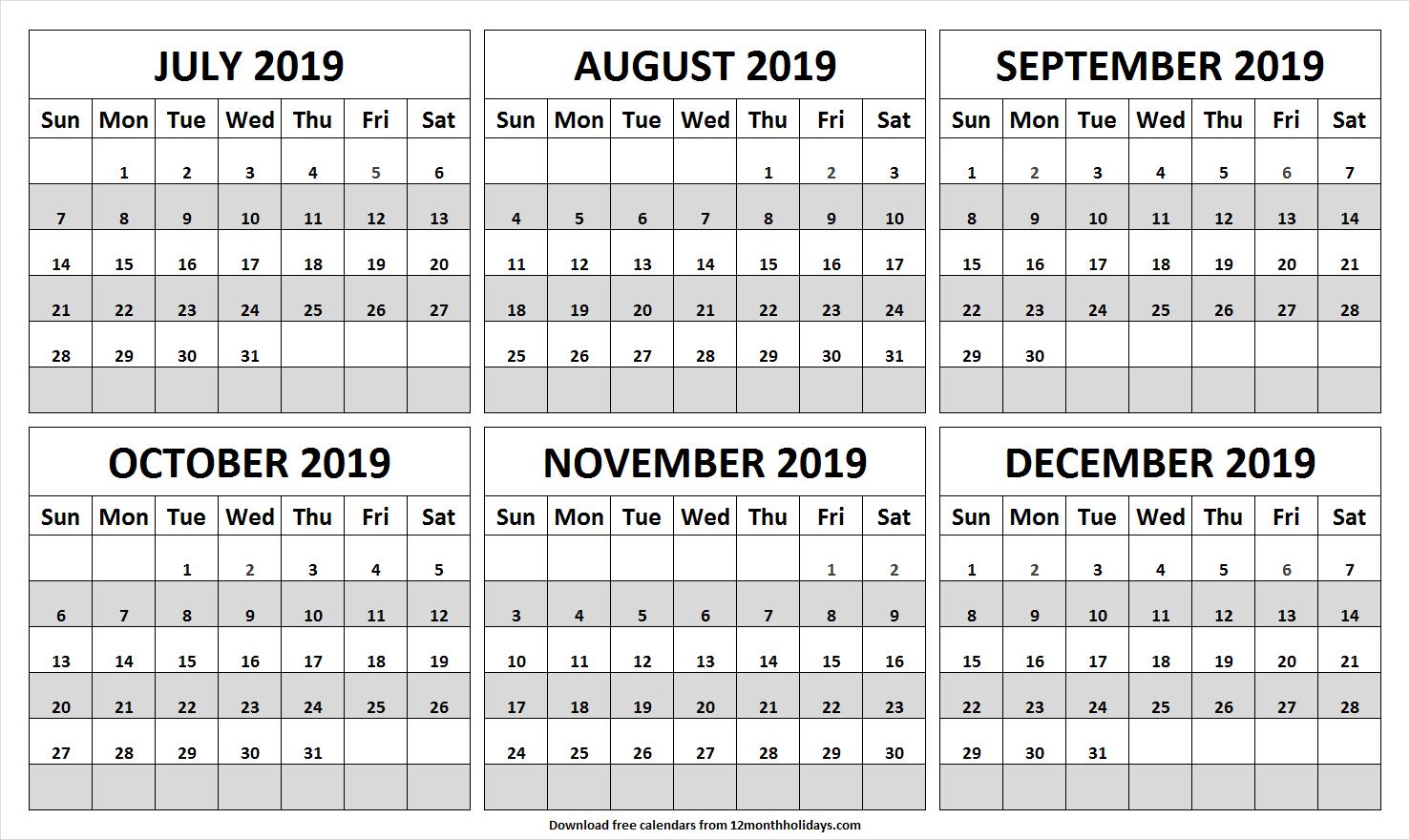 July To December 2019 Printable Calendar | Calendar 2019 Image
