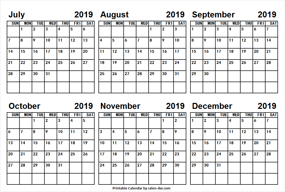 July To December 2019 Printable Calendar | July 2019