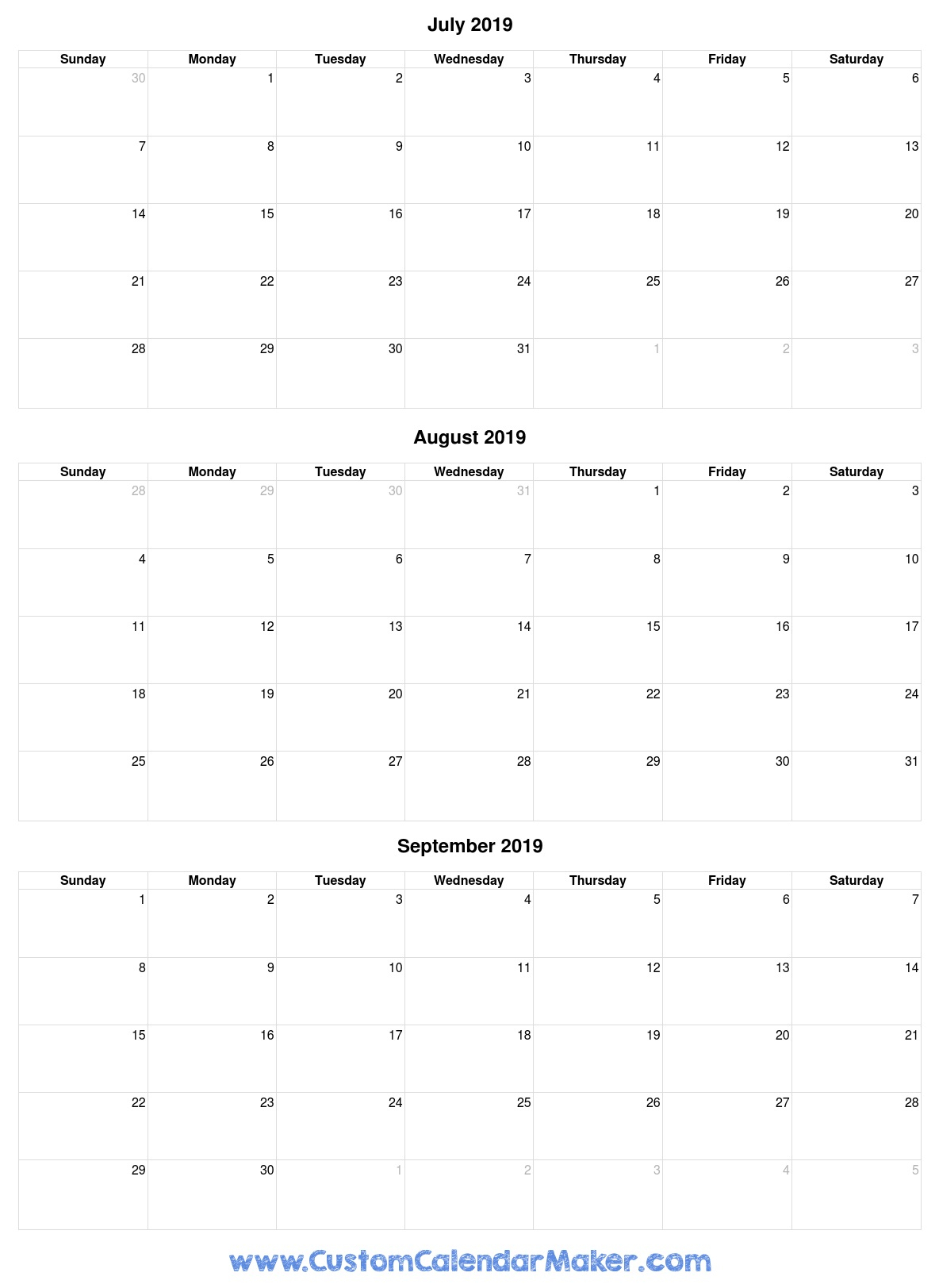 July To September 2019 Calendar - Free Printable Template