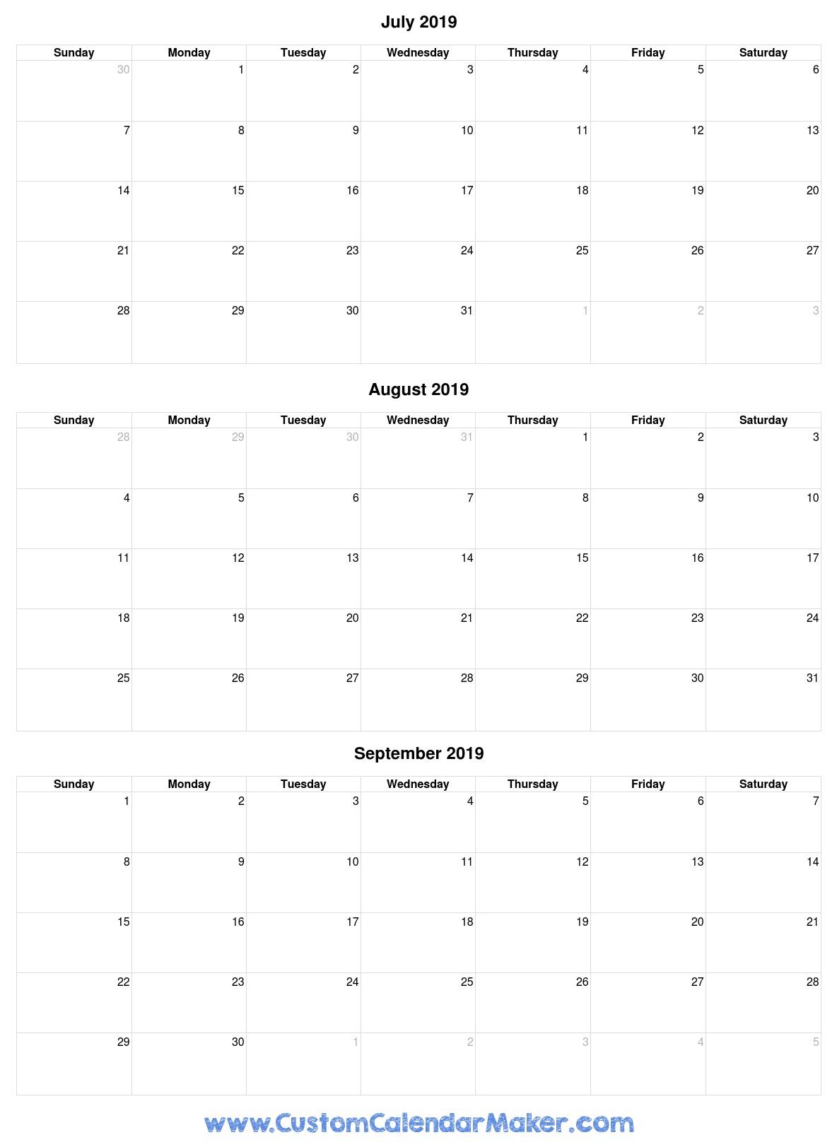 July To September 2019 Calendar - Free Printable Template
