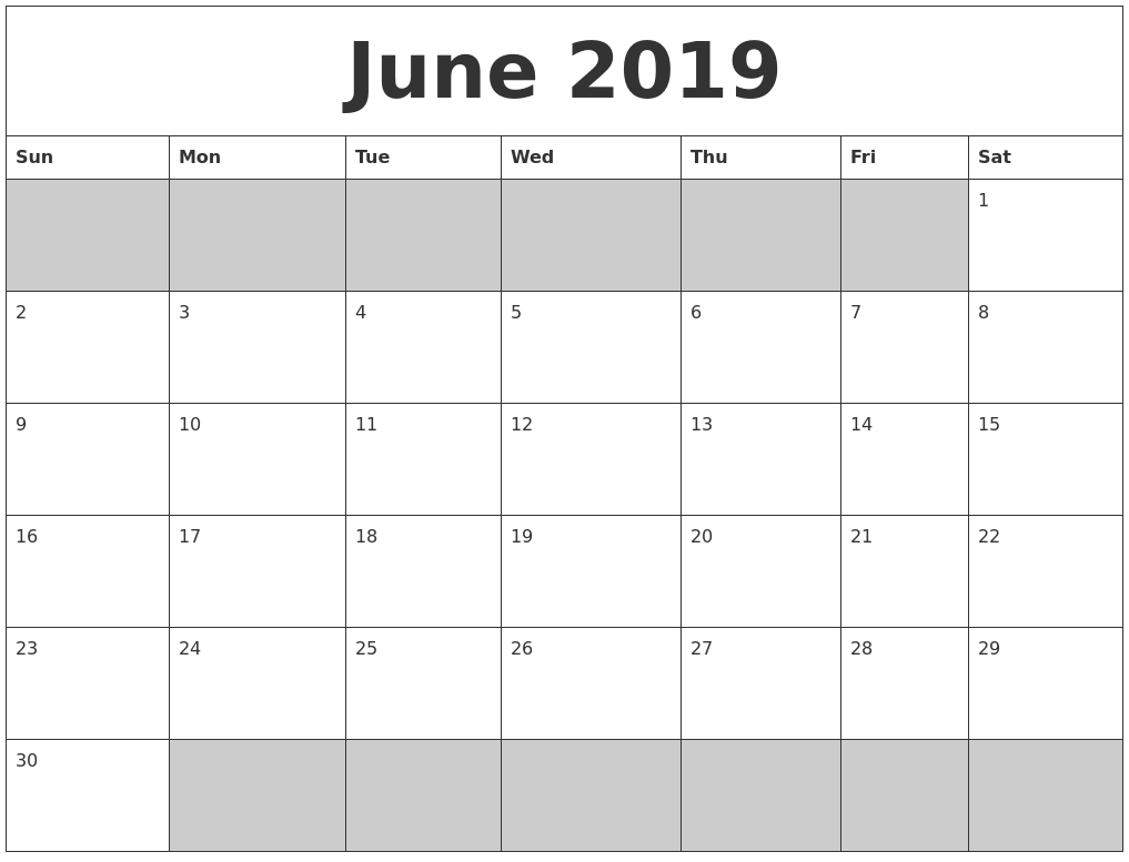 June 2019 Blank Printable Calendar-June And July Blank