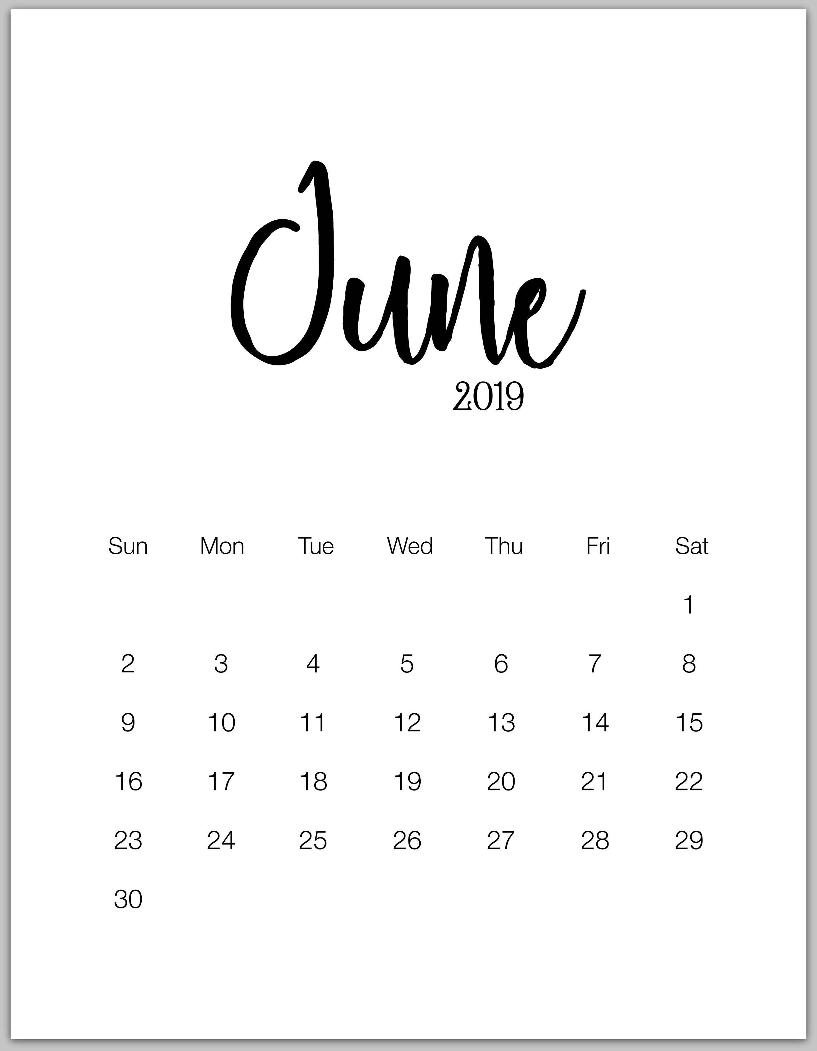 June 2019 Minimalist Calendar | Календарь Для Печати