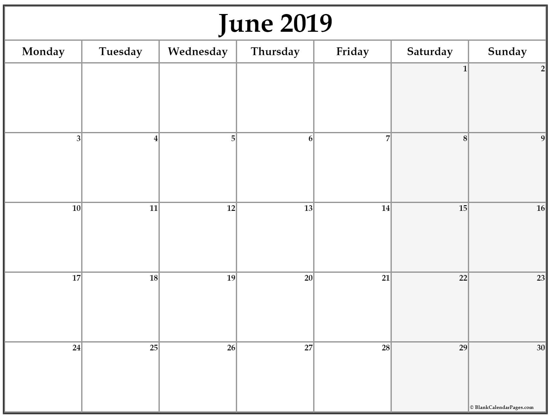 June 2019 Monday Calendar. Monday To Sunday | Calendar, June