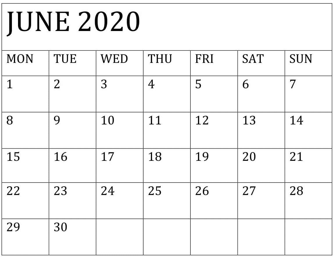 June 2020 Calendar Template Printable – Free Latest Calendar