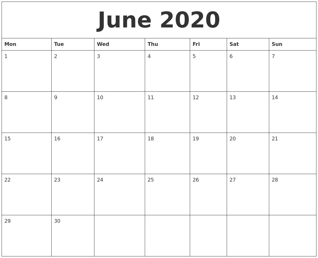 June 2020 Free Monthly Calendar Template
