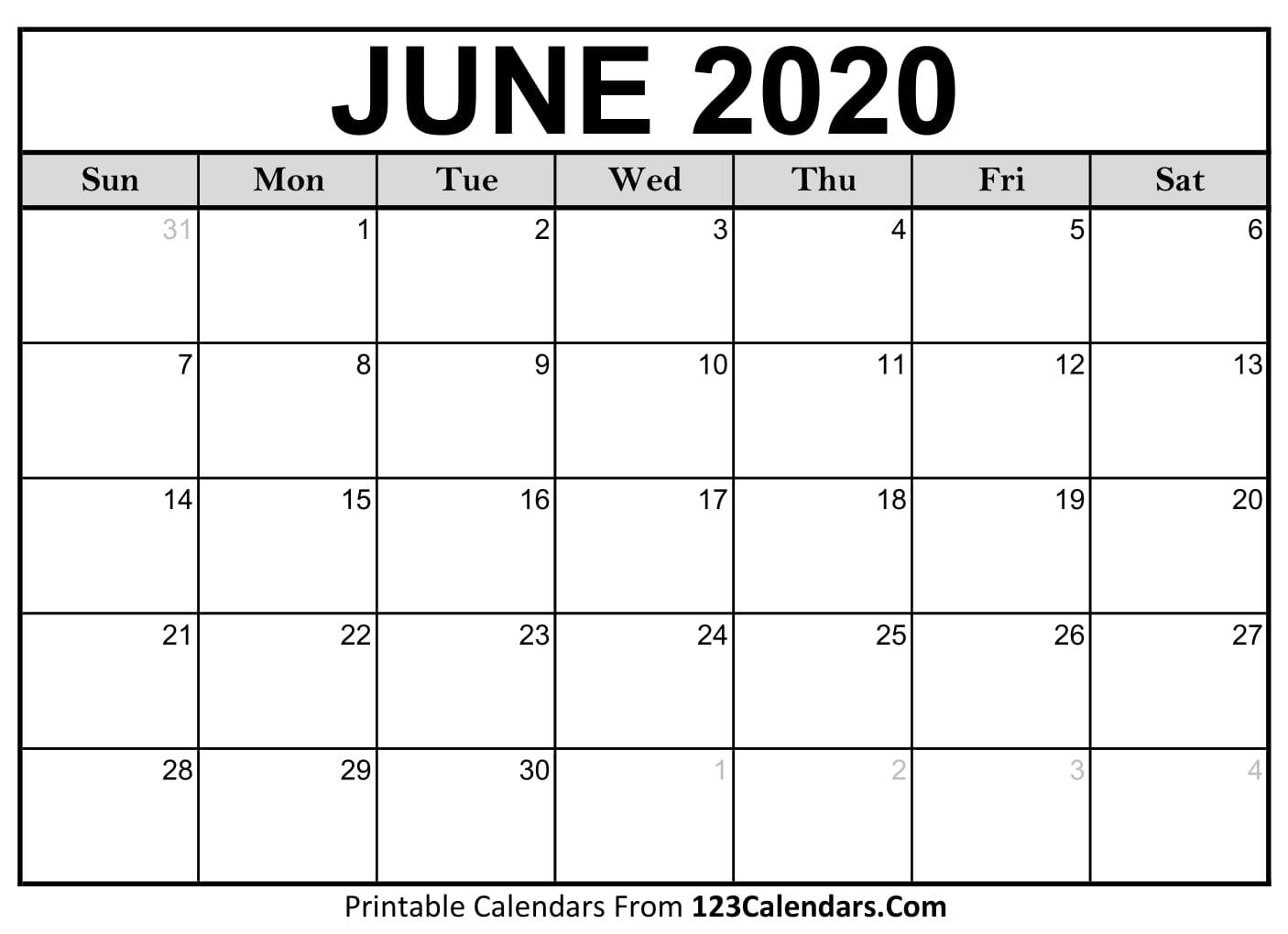 June 2020 Printable Calendar | 123Calendars