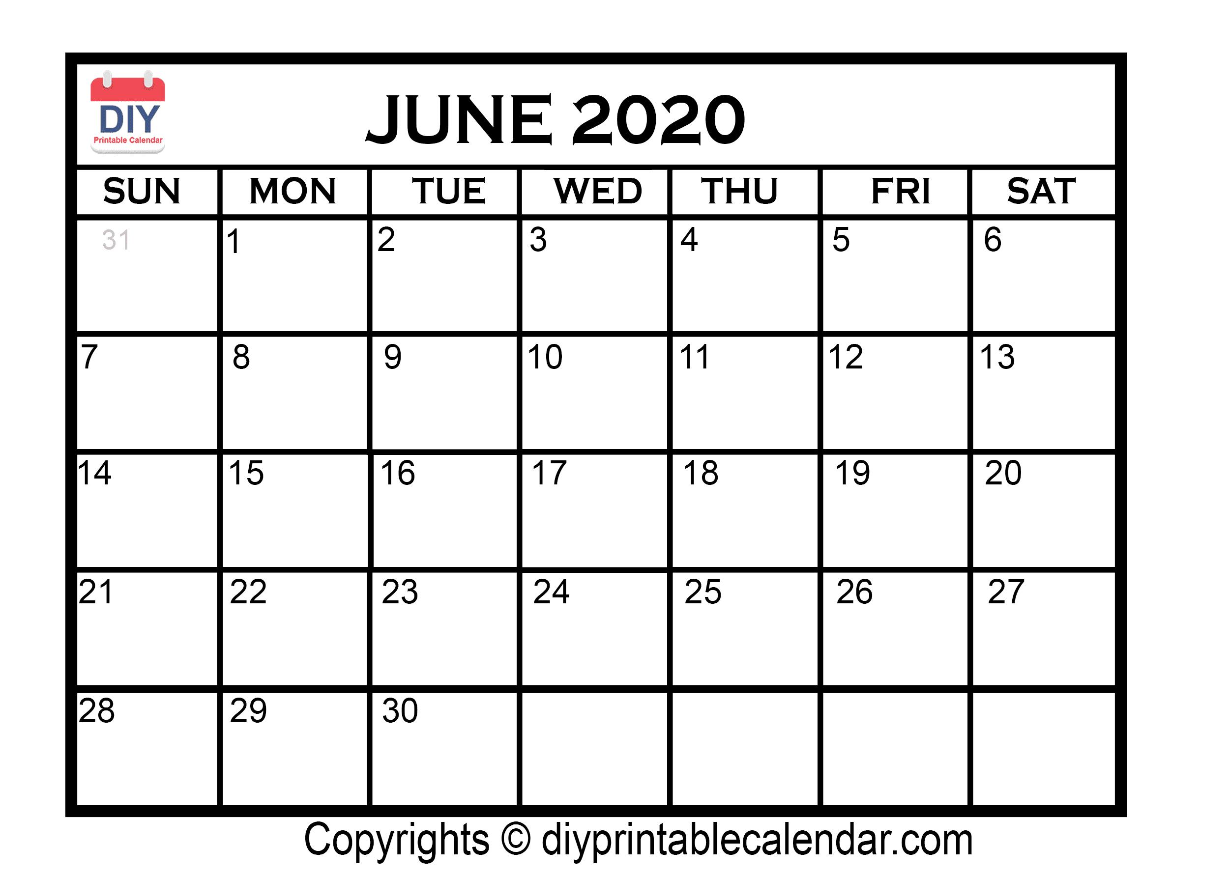 June 2020 Printable Calendar Template