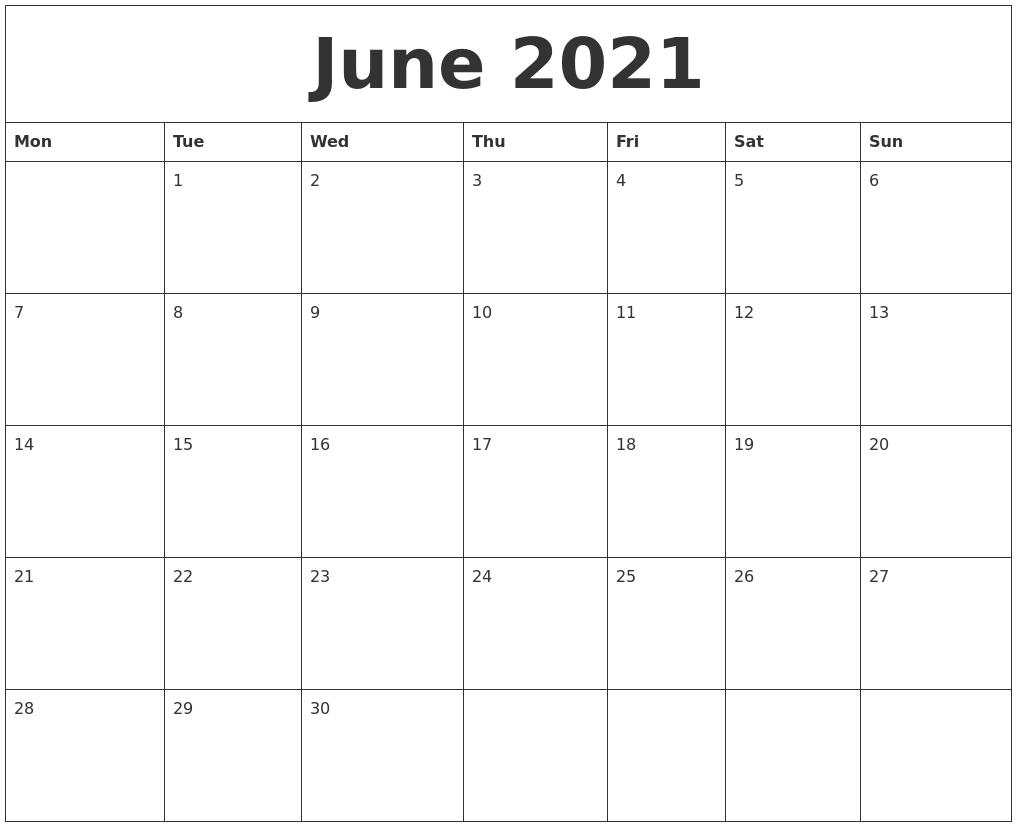 June 2021 Blank Monthly Calendar Template