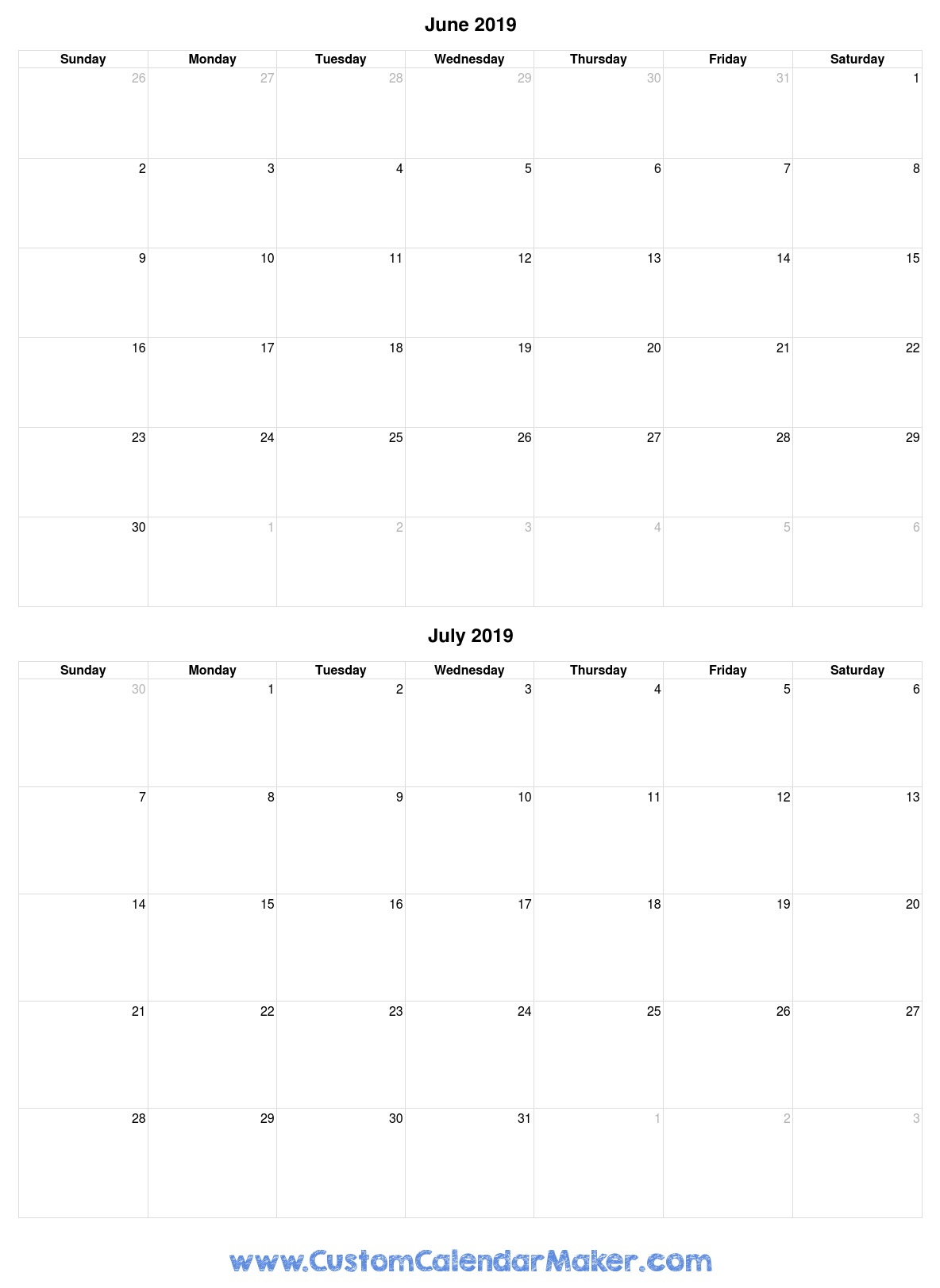 June And July 2019 Free Printable Calendar Template