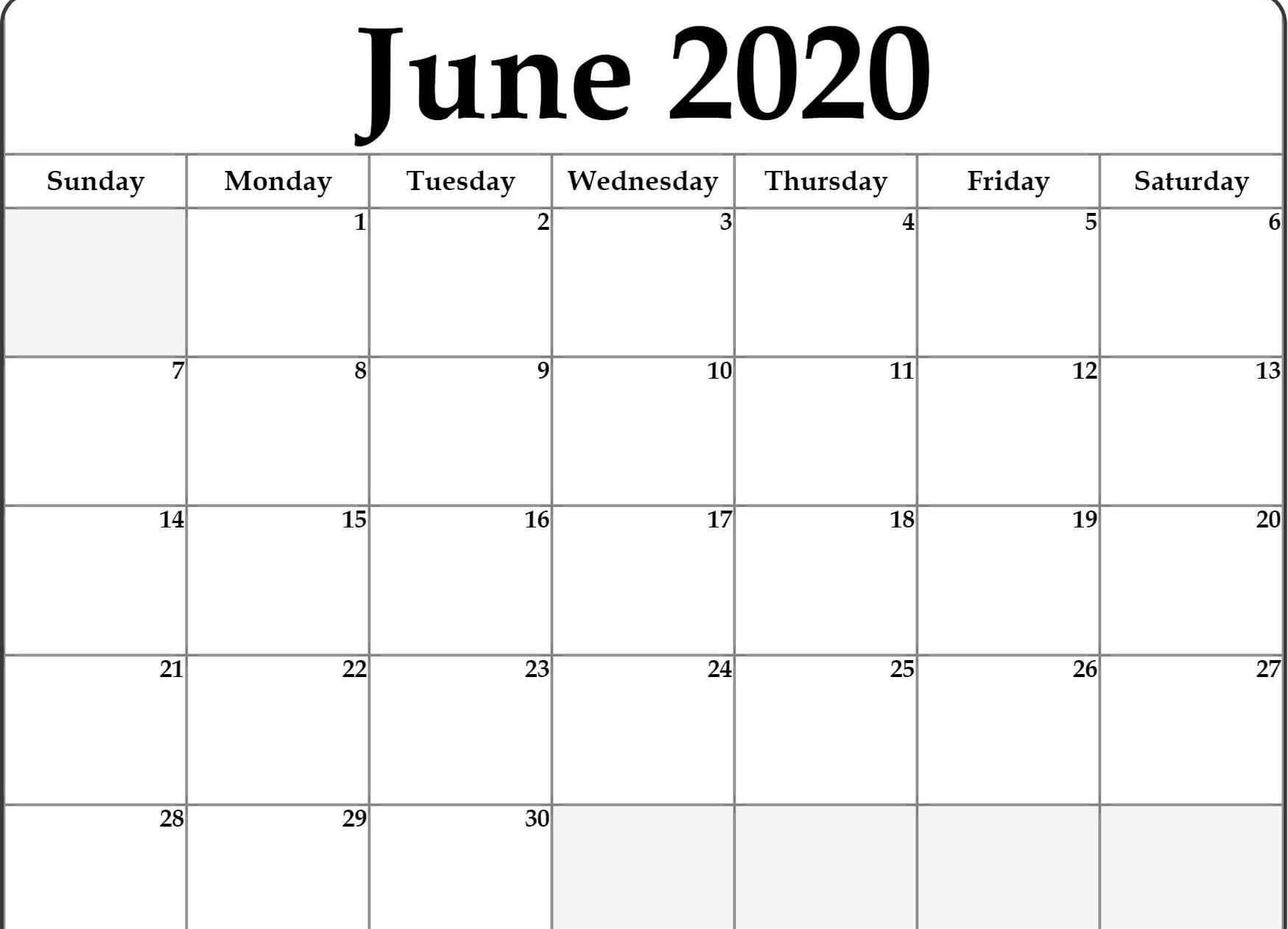 June Calendar 2020 Free Printable Template Pdf Word Excel