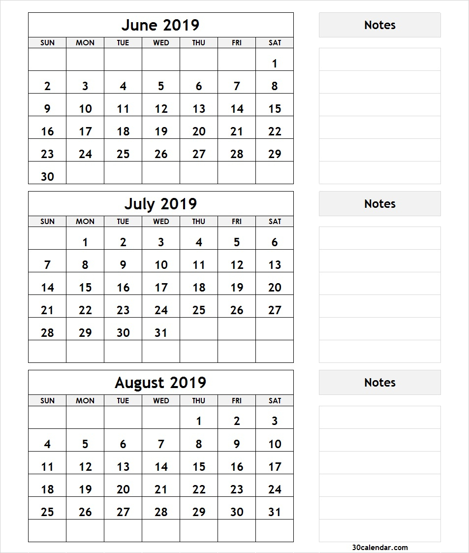 June July August 2019 Calendar | 3 Month Calendar Template