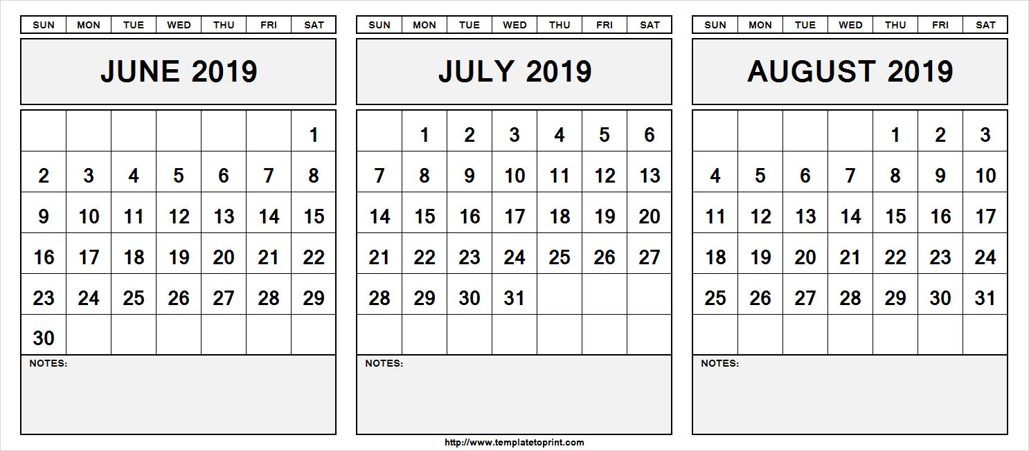 June July August 2019 Calendar Printable Template Pdf Word