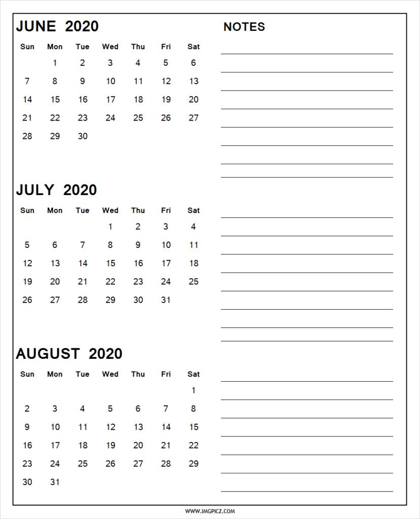 June July August 2020 Calendar Printable | 3 Months 2020