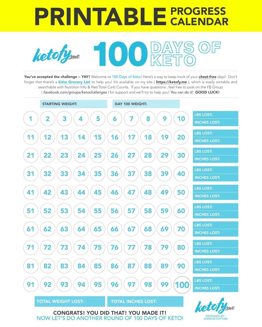 Ketofy 100 Days Of Keto – Print – Printable Progress-100