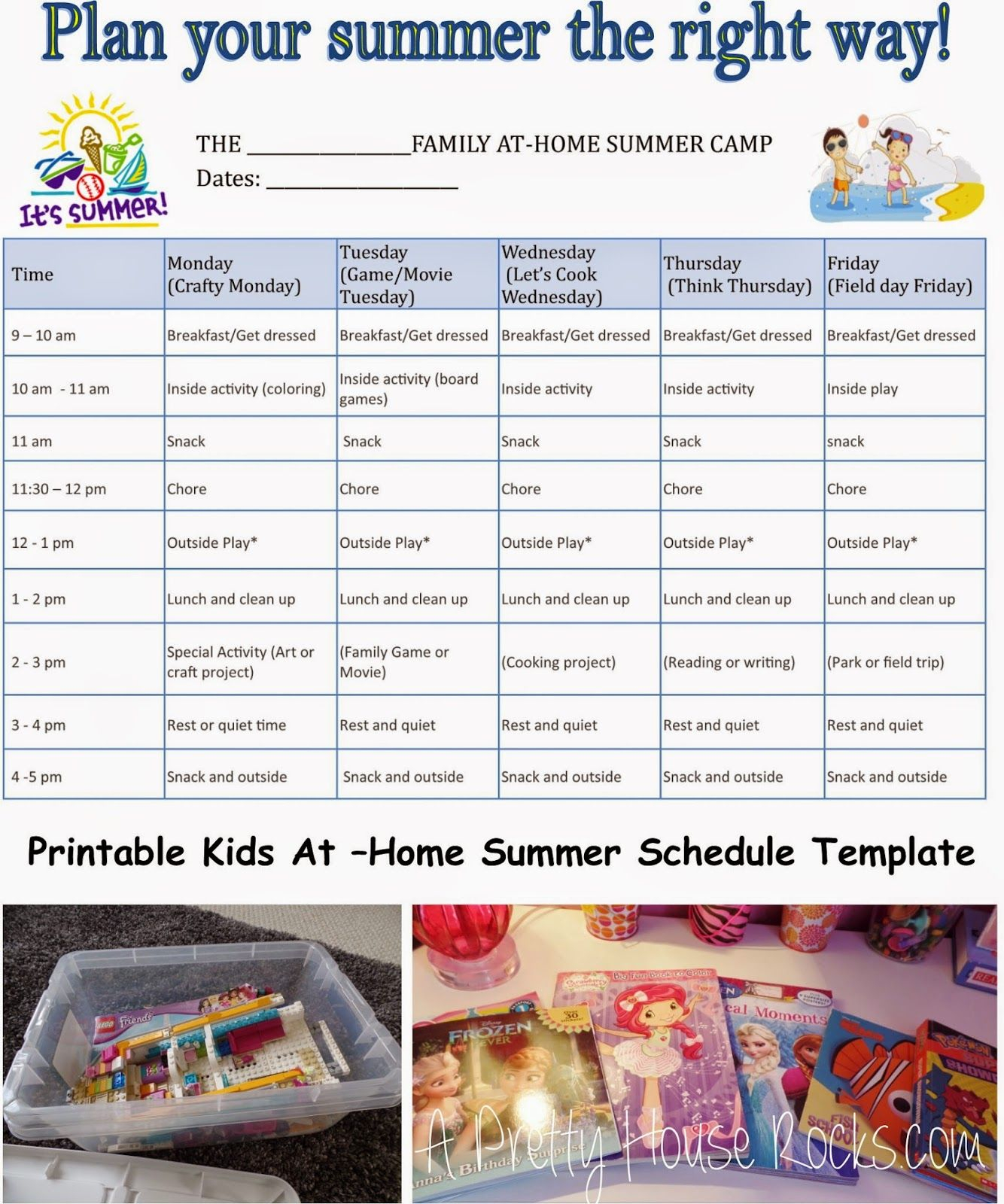 Kids At-Home Summer Camp Schedule - Printable Template - A