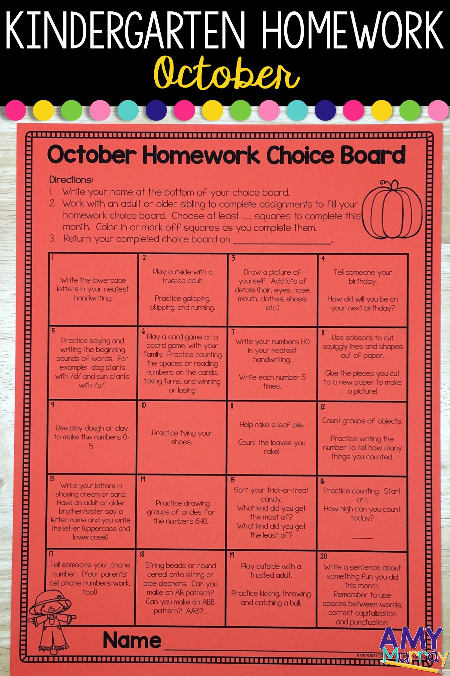 Kindergarten Homework Menu October | Kindergarten Homework