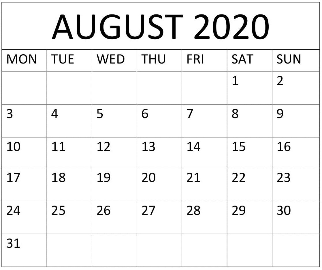 Large Printable August 2020 Calendar – Free Latest Calendar